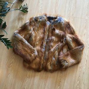 Asos faux fur bomber jacket size 2